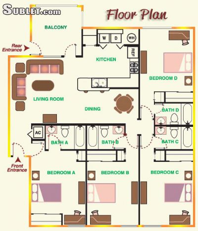 Image 7 Room to rent in Forrest (Hattiesburg), Coastal 4 bedroom Apartment