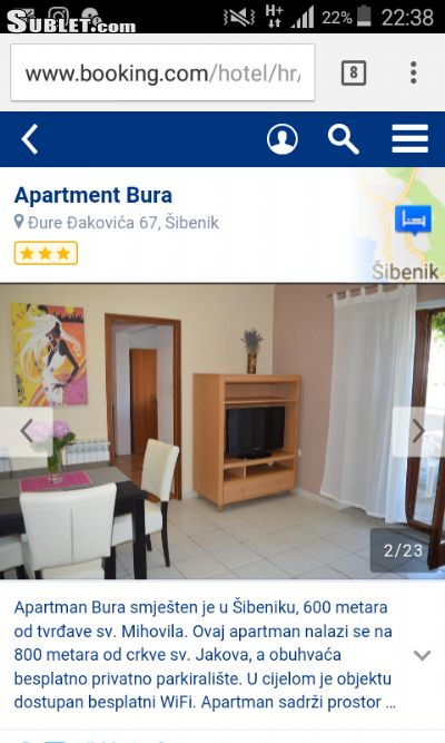 Image 1 furnished 2 bedroom Apartment for rent in Sibenik, Sibenik Knin