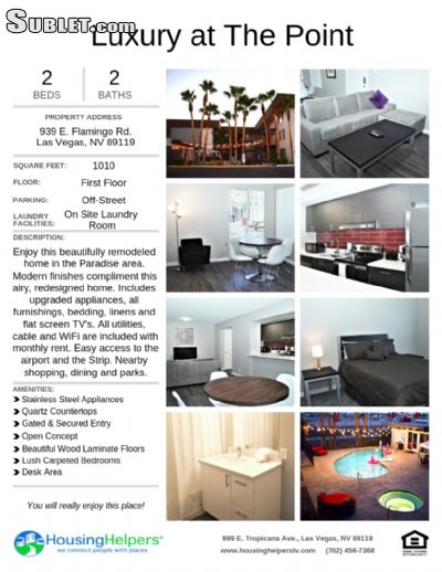 Image 1 furnished 2 bedroom Apartment for rent in Southeast Las Vegas, Las Vegas Area