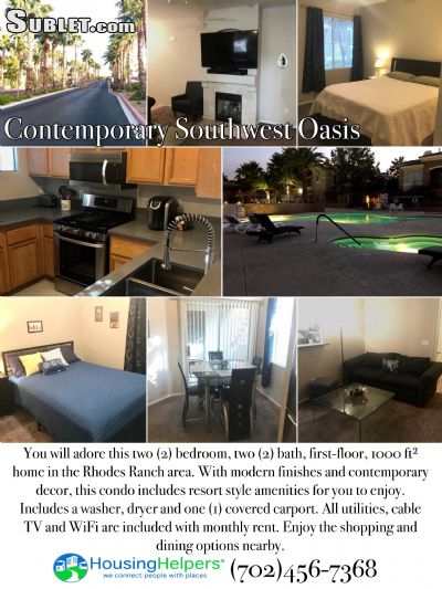 Image 2 furnished 2 bedroom Apartment for rent in Southwest Area, Las Vegas Area